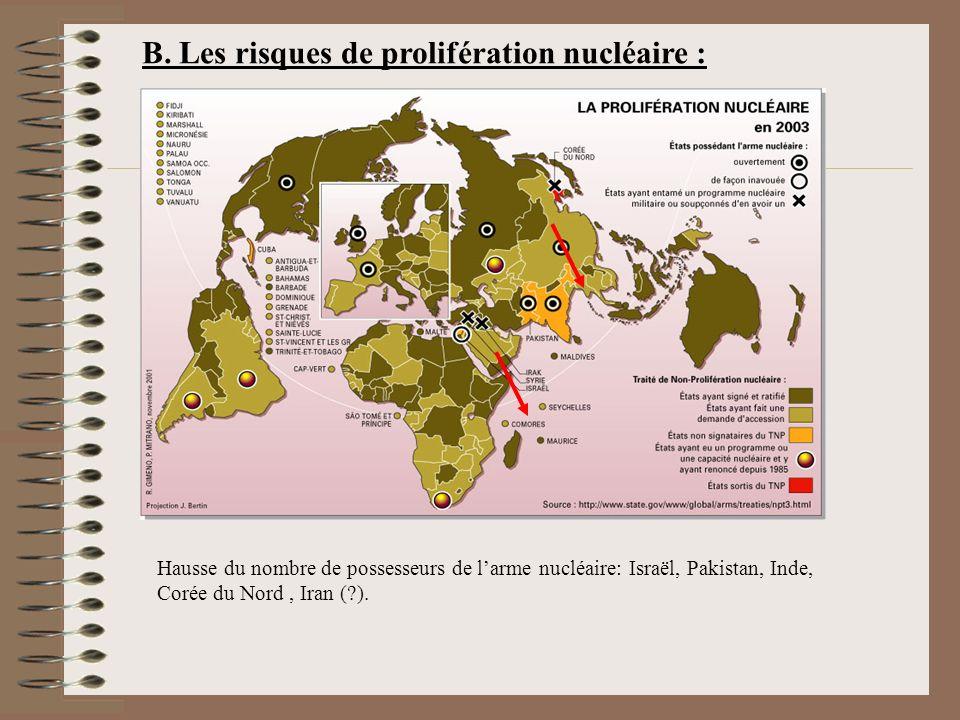 B. Les risques de prolifération nucléaire : Hausse du nombre de possesseurs de larme nucléaire: Israël, Pakistan, Inde, Corée du Nord, Iran (?).