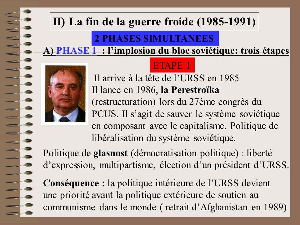 II) La fin de la guerre froide (1985-1991) A) PHASE 1 : limplosion du bloc soviétique: trois étapes Il arrive à la tête de lURSS en 1985 Il lance en 1986, la Perestroïka (restructuration) lors du 27ème congrès du PCUS.