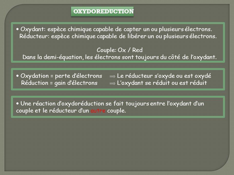 OXYDOREDUCTION Oxydant: espèce chimique capable de capter un ou plusieurs électrons. Réducteur: espèce chimique capable de libérer un ou plusieurs éle