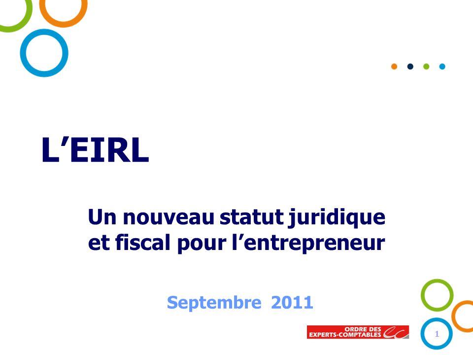 LEIRL Un nouveau statut juridique et fiscal pour lentrepreneur Septembre 2011 1
