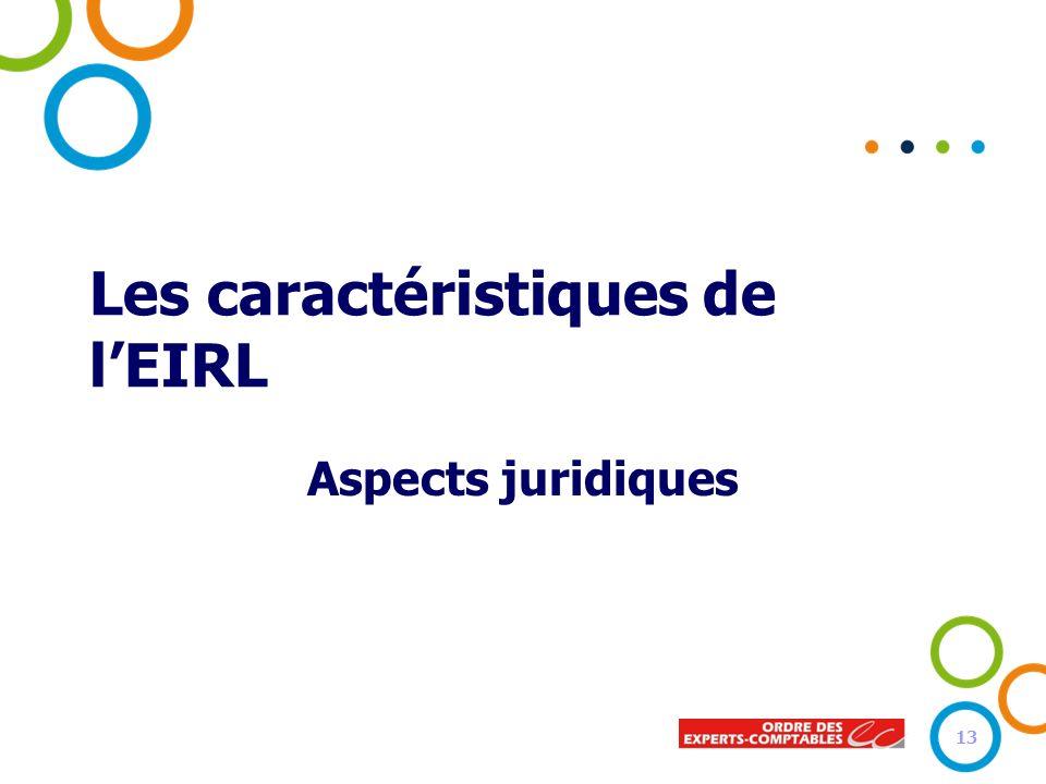 Les caractéristiques de lEIRL Aspects juridiques 13