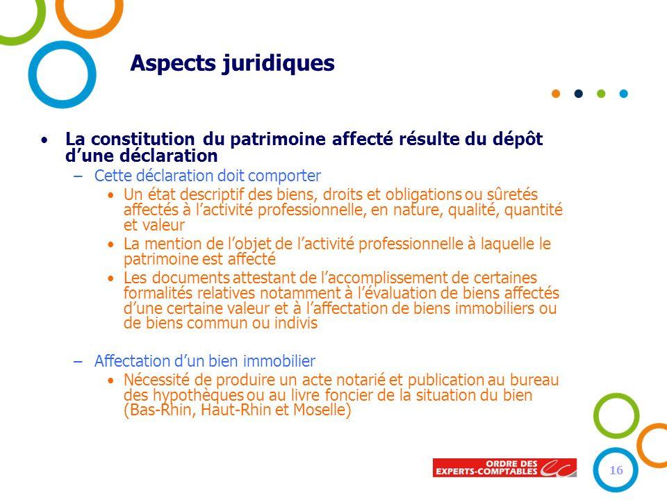 Aspects juridiques La constitution du patrimoine affecté résulte du dépôt dune déclaration –Cette déclaration doit comporter Un état descriptif des bi
