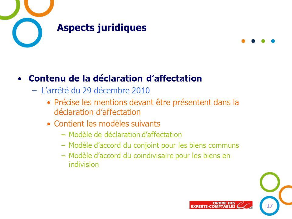 Aspects juridiques Contenu de la déclaration daffectation –Larrêté du 29 décembre 2010 Précise les mentions devant être présentent dans la déclaration