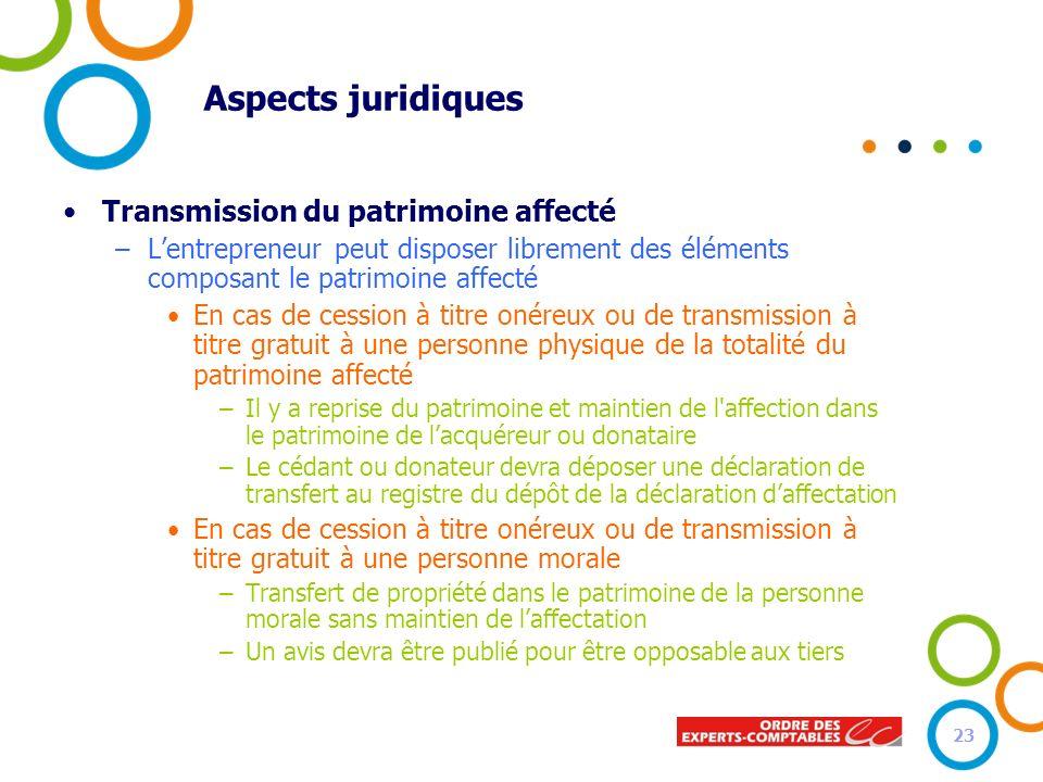 Aspects juridiques Transmission du patrimoine affecté –Lentrepreneur peut disposer librement des éléments composant le patrimoine affecté En cas de ce