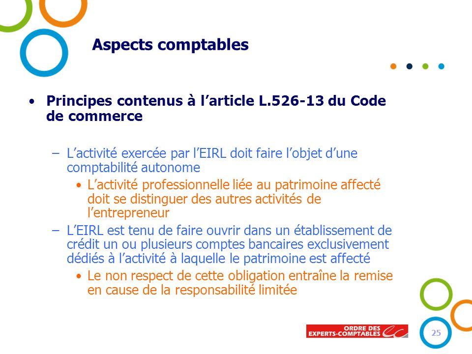Aspects comptables Principes contenus à larticle L.526-13 du Code de commerce –Lactivité exercée par lEIRL doit faire lobjet dune comptabilité autonom