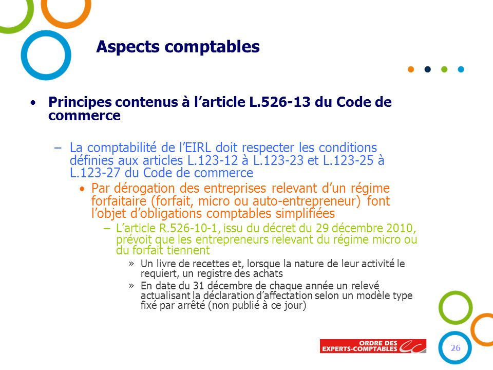 Aspects comptables Principes contenus à larticle L.526-13 du Code de commerce –La comptabilité de lEIRL doit respecter les conditions définies aux art