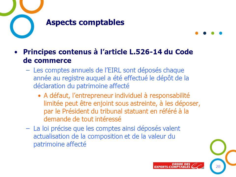 Aspects comptables Principes contenus à larticle L.526-14 du Code de commerce –Les comptes annuels de lEIRL sont déposés chaque année au registre auqu