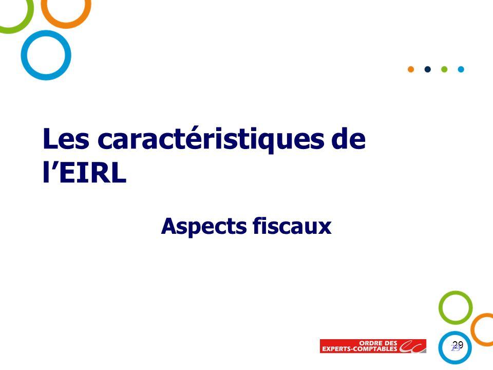 29 Les caractéristiques de lEIRL Aspects fiscaux 29