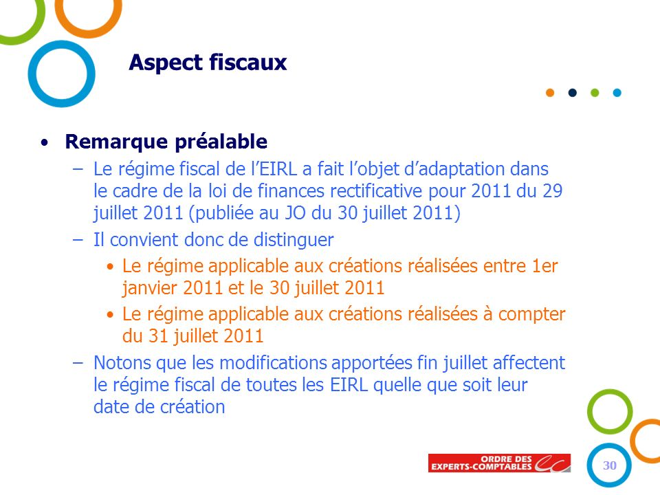 30 Aspect fiscaux Remarque préalable –Le régime fiscal de lEIRL a fait lobjet dadaptation dans le cadre de la loi de finances rectificative pour 2011