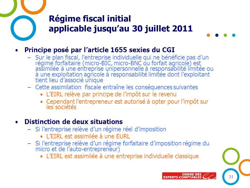 31 Régime fiscal initial applicable jusquau 30 juillet 2011 Principe posé par larticle 1655 sexies du CGI –Sur le plan fiscal, lentreprise individuell