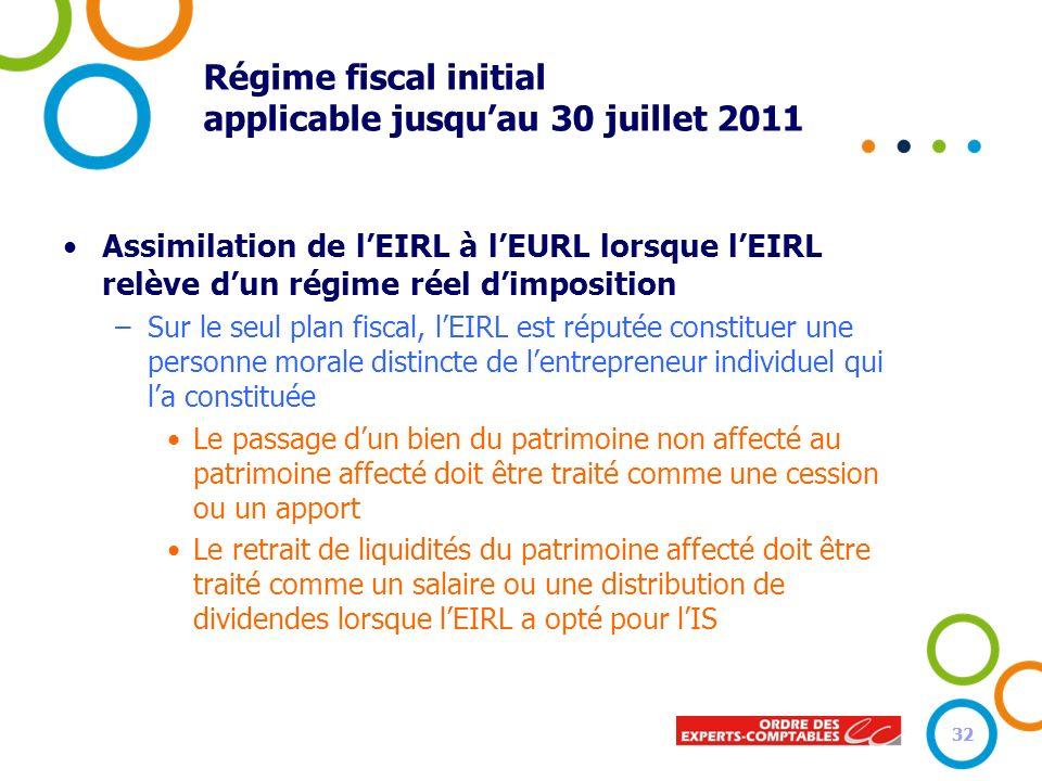 32 Régime fiscal initial applicable jusquau 30 juillet 2011 Assimilation de lEIRL à lEURL lorsque lEIRL relève dun régime réel dimposition –Sur le seu