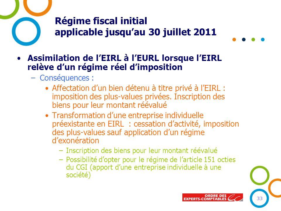 33 Régime fiscal initial applicable jusquau 30 juillet 2011 Assimilation de lEIRL à lEURL lorsque lEIRL relève dun régime réel dimposition –Conséquenc