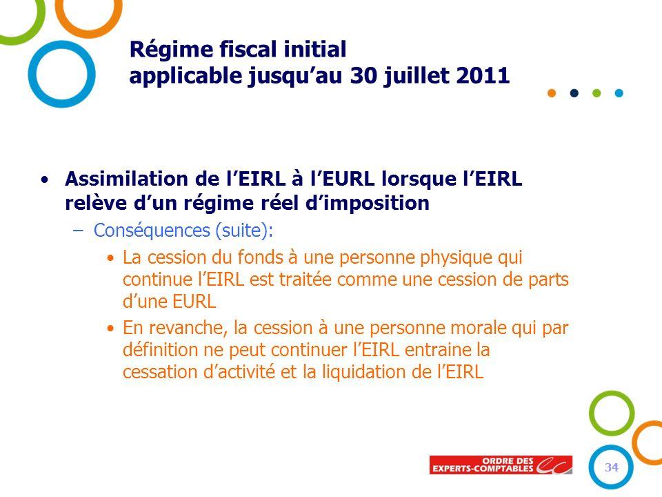 34 Régime fiscal initial applicable jusquau 30 juillet 2011 Assimilation de lEIRL à lEURL lorsque lEIRL relève dun régime réel dimposition –Conséquenc