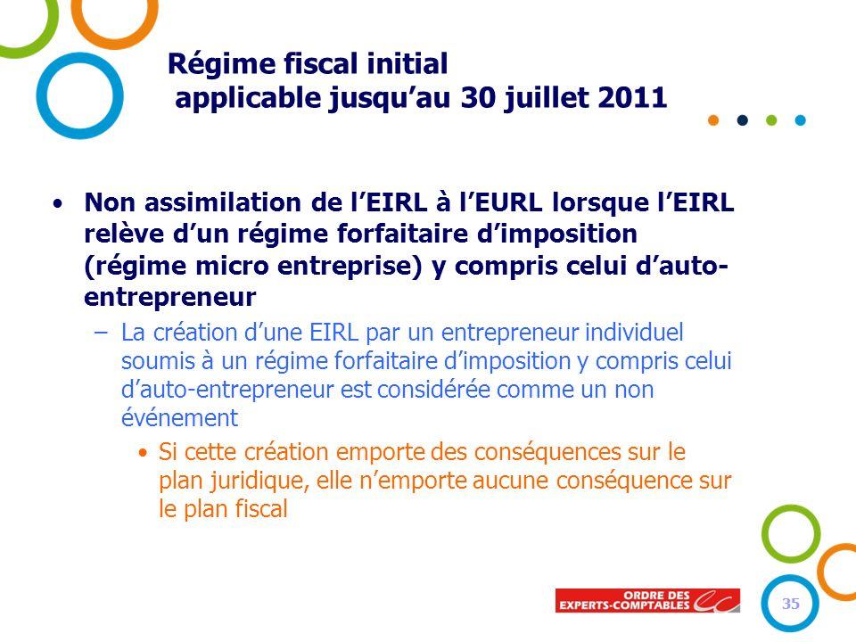35 Régime fiscal initial applicable jusquau 30 juillet 2011 Non assimilation de lEIRL à lEURL lorsque lEIRL relève dun régime forfaitaire dimposition