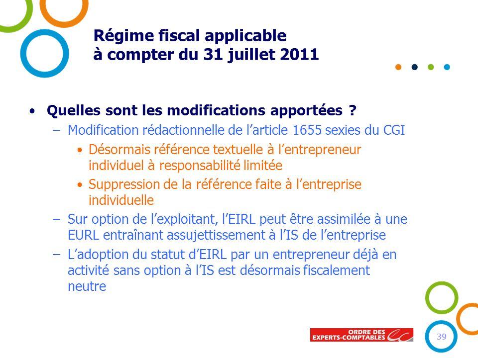 Régime fiscal applicable à compter du 31 juillet 2011 Quelles sont les modifications apportées ? –Modification rédactionnelle de larticle 1655 sexies