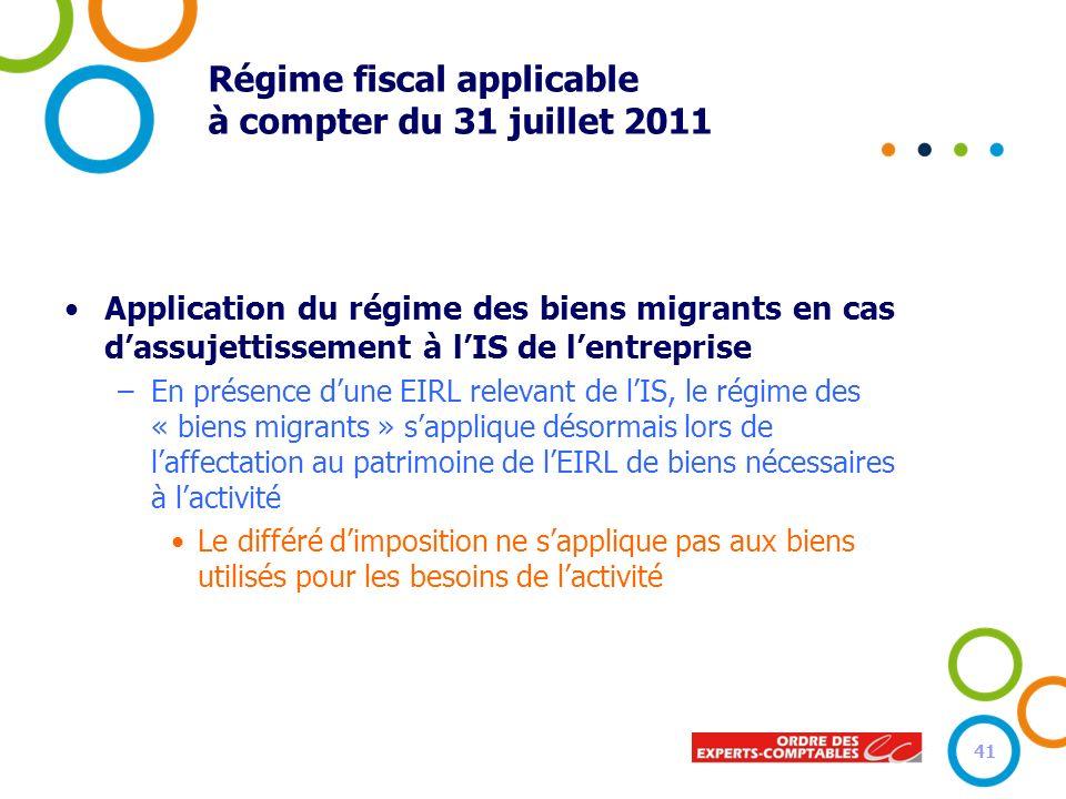 Régime fiscal applicable à compter du 31 juillet 2011 Application du régime des biens migrants en cas dassujettissement à lIS de lentreprise –En prése