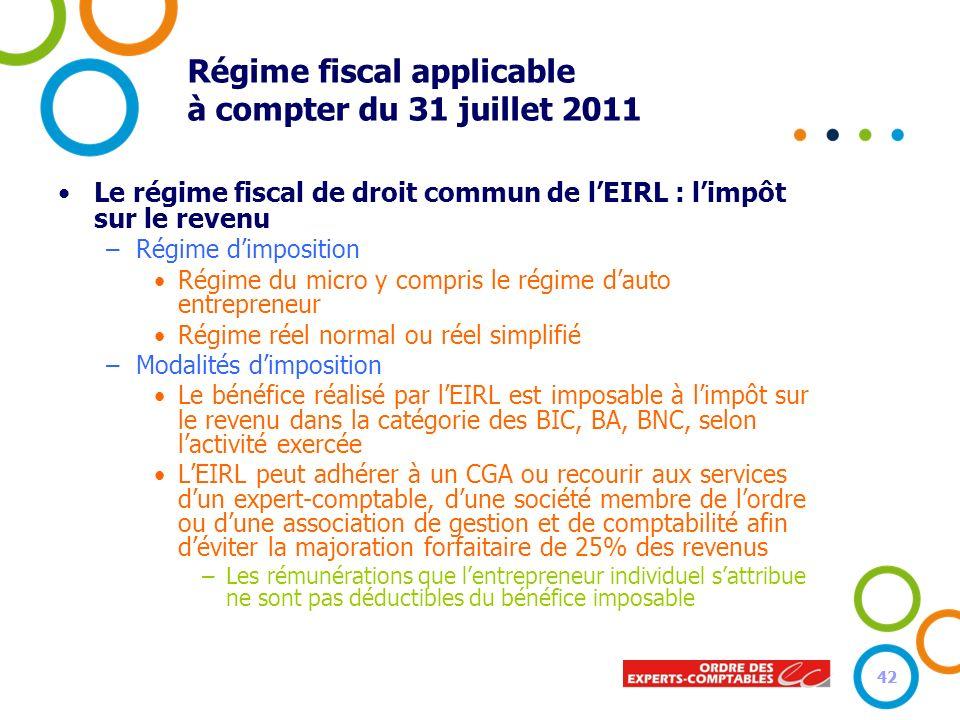 42 Régime fiscal applicable à compter du 31 juillet 2011 Le régime fiscal de droit commun de lEIRL : limpôt sur le revenu –Régime dimposition Régime d