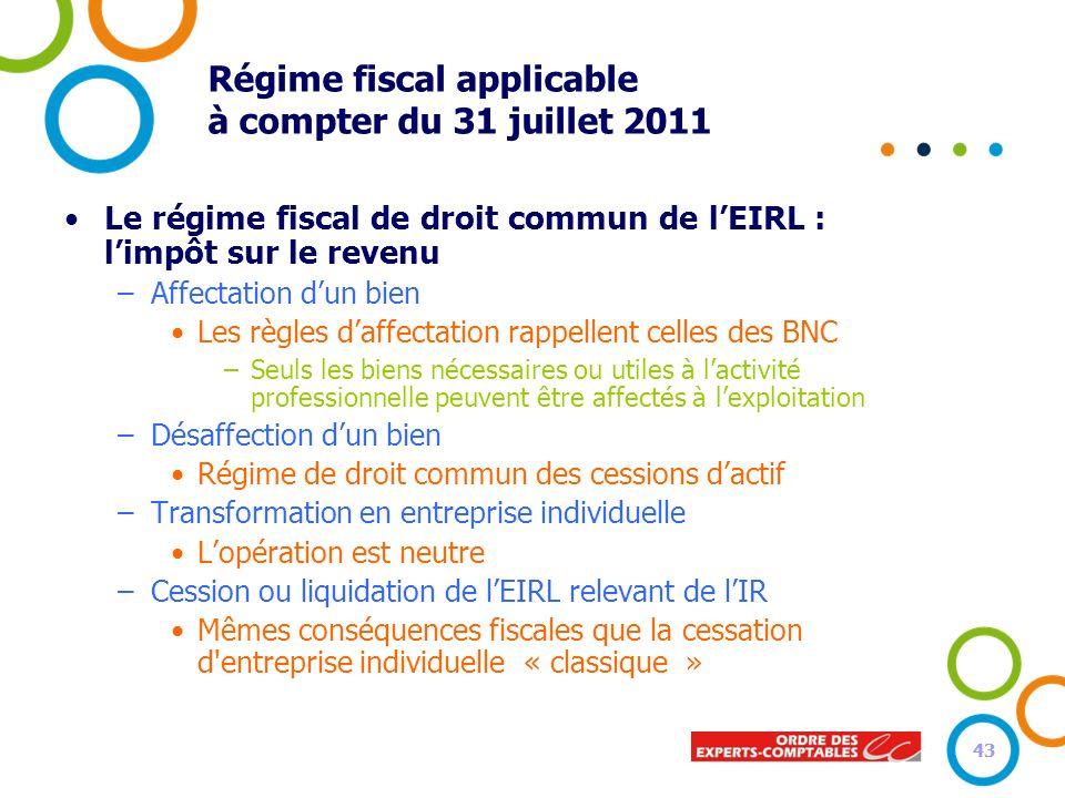43 Régime fiscal applicable à compter du 31 juillet 2011 Le régime fiscal de droit commun de lEIRL : limpôt sur le revenu –Affectation dun bien Les rè