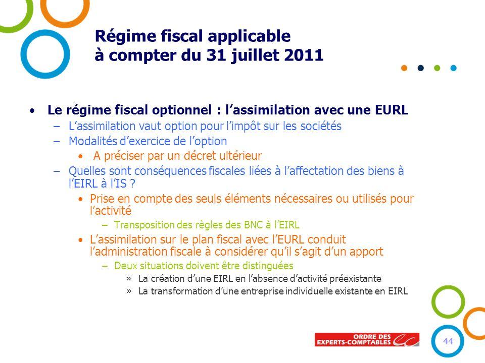 44 Régime fiscal applicable à compter du 31 juillet 2011 Le régime fiscal optionnel : lassimilation avec une EURL –Lassimilation vaut option pour limp