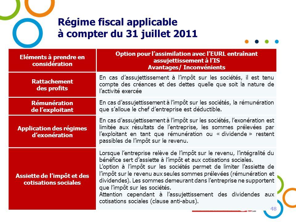 48 Régime fiscal applicable à compter du 31 juillet 2011 Eléments à prendre en considération Option pour lassimilation avec lEURL entraînant assujetti