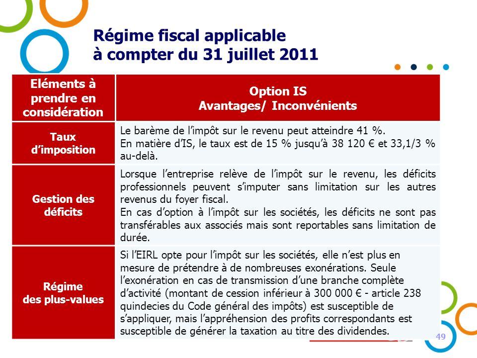 49 Régime fiscal applicable à compter du 31 juillet 2011 Eléments à prendre en considération Option IS Avantages/ Inconvénients Taux dimposition Le ba