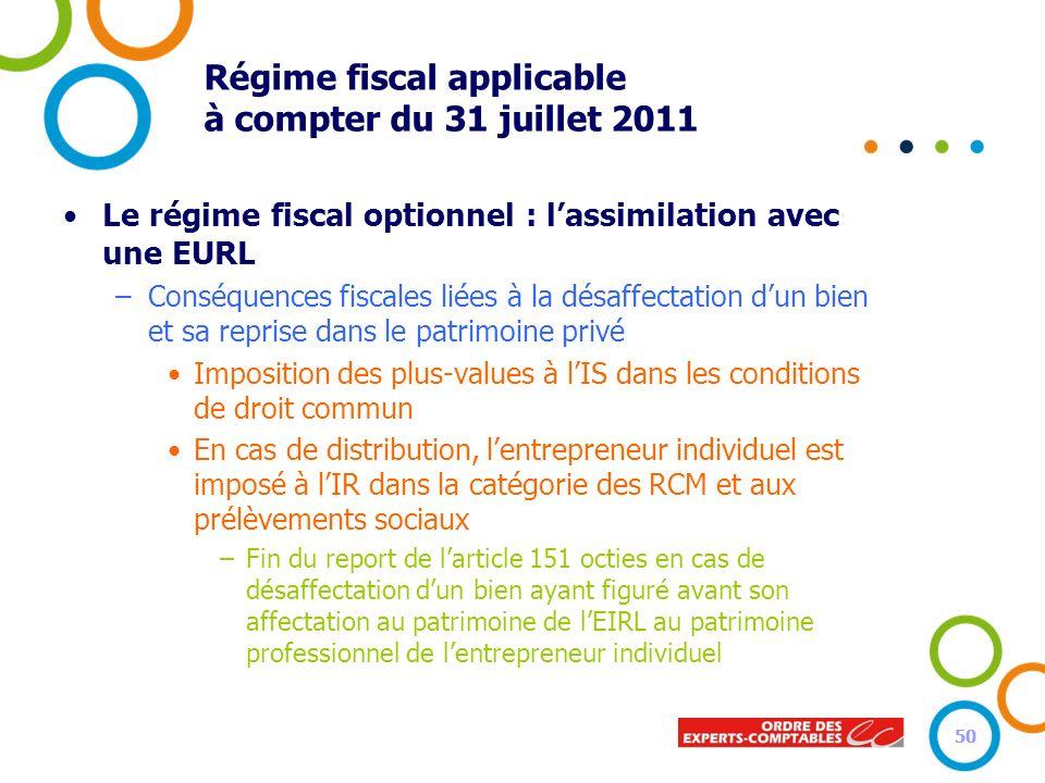 50 Régime fiscal applicable à compter du 31 juillet 2011 Le régime fiscal optionnel : lassimilation avec une EURL –Conséquences fiscales liées à la dé