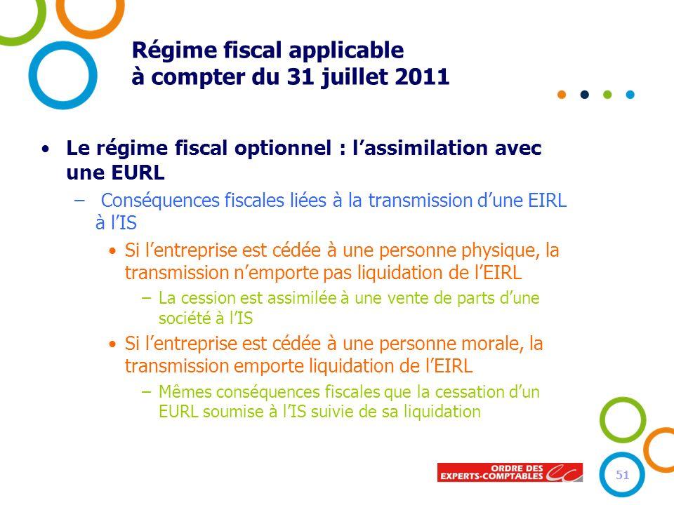 Régime fiscal applicable à compter du 31 juillet 2011 Le régime fiscal optionnel : lassimilation avec une EURL – Conséquences fiscales liées à la tran