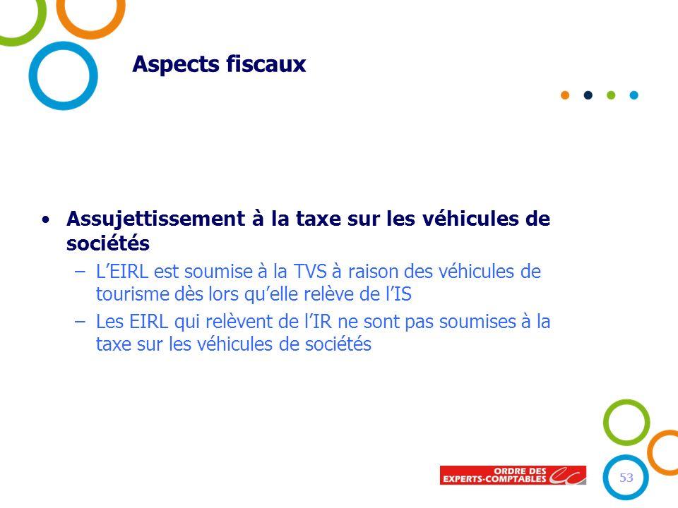 Aspects fiscaux Assujettissement à la taxe sur les véhicules de sociétés –LEIRL est soumise à la TVS à raison des véhicules de tourisme dès lors quell