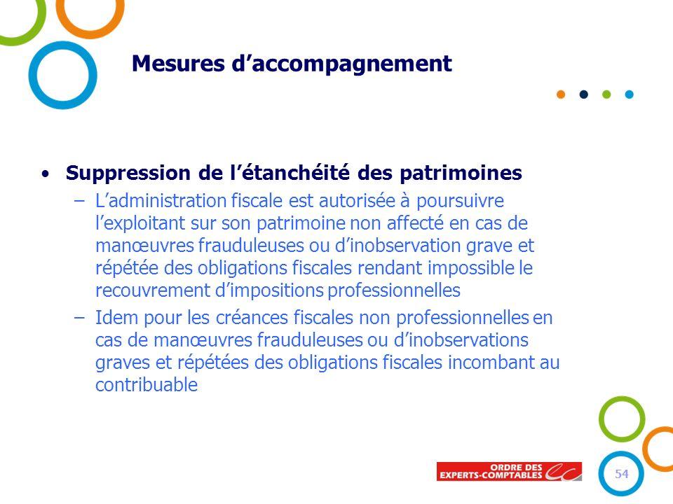 Mesures daccompagnement Suppression de létanchéité des patrimoines –Ladministration fiscale est autorisée à poursuivre lexploitant sur son patrimoine