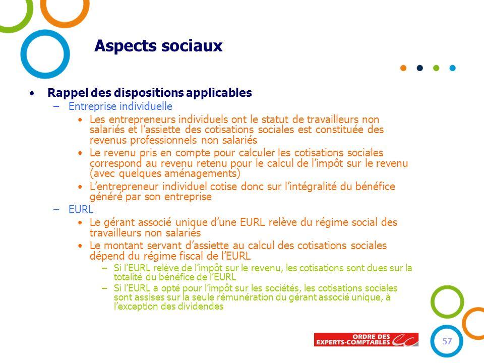 Aspects sociaux Rappel des dispositions applicables –Entreprise individuelle Les entrepreneurs individuels ont le statut de travailleurs non salariés