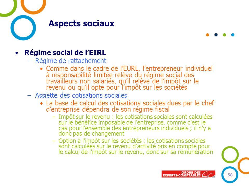 Aspects sociaux Régime social de lEIRL –Régime de rattachement Comme dans le cadre de lEURL, lentrepreneur individuel à responsabilité limitée relève