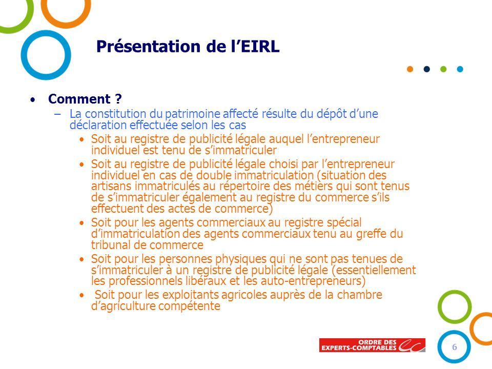 Présentation de lEIRL Comment ? –La constitution du patrimoine affecté résulte du dépôt dune déclaration effectuée selon les cas Soit au registre de p