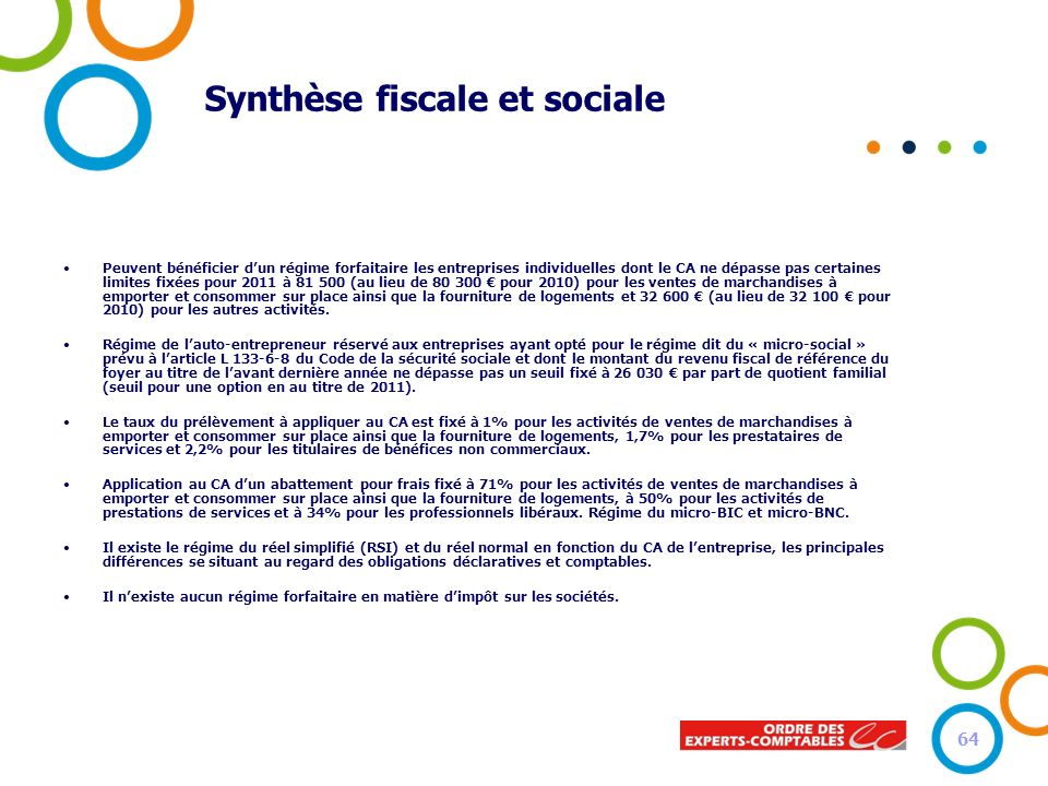 Synthèse fiscale et sociale Peuvent bénéficier dun régime forfaitaire les entreprises individuelles dont le CA ne dépasse pas certaines limites fixées