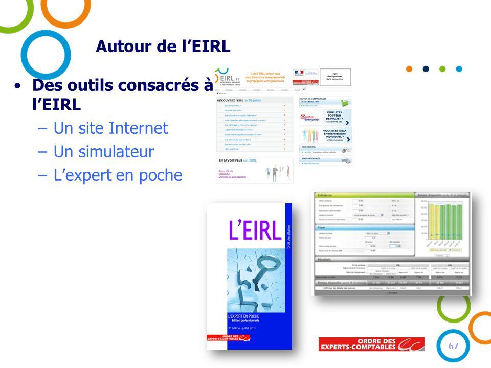 Autour de lEIRL Des outils consacrés à lEIRL –Un site Internet –Un simulateur –Lexpert en poche 67