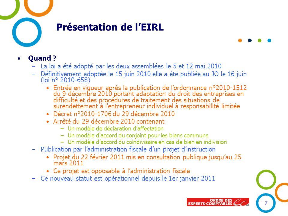 Présentation de lEIRL Quand ? –La loi a été adopté par les deux assemblées le 5 et 12 mai 2010 –Définitivement adoptée le 15 juin 2010 elle a été publ