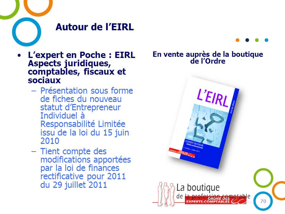 Autour de lEIRL Lexpert en Poche : EIRL Aspects juridiques, comptables, fiscaux et sociaux –Présentation sous forme de fiches du nouveau statut dEntre