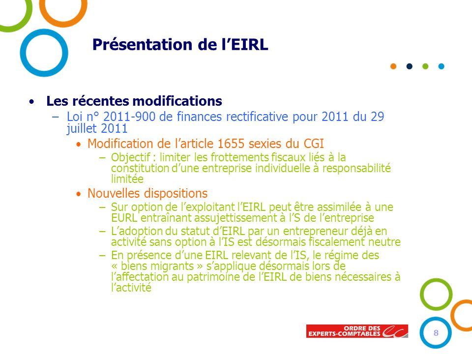 Présentation de lEIRL Les récentes modifications –Loi n° 2011-900 de finances rectificative pour 2011 du 29 juillet 2011 Modification de larticle 1655