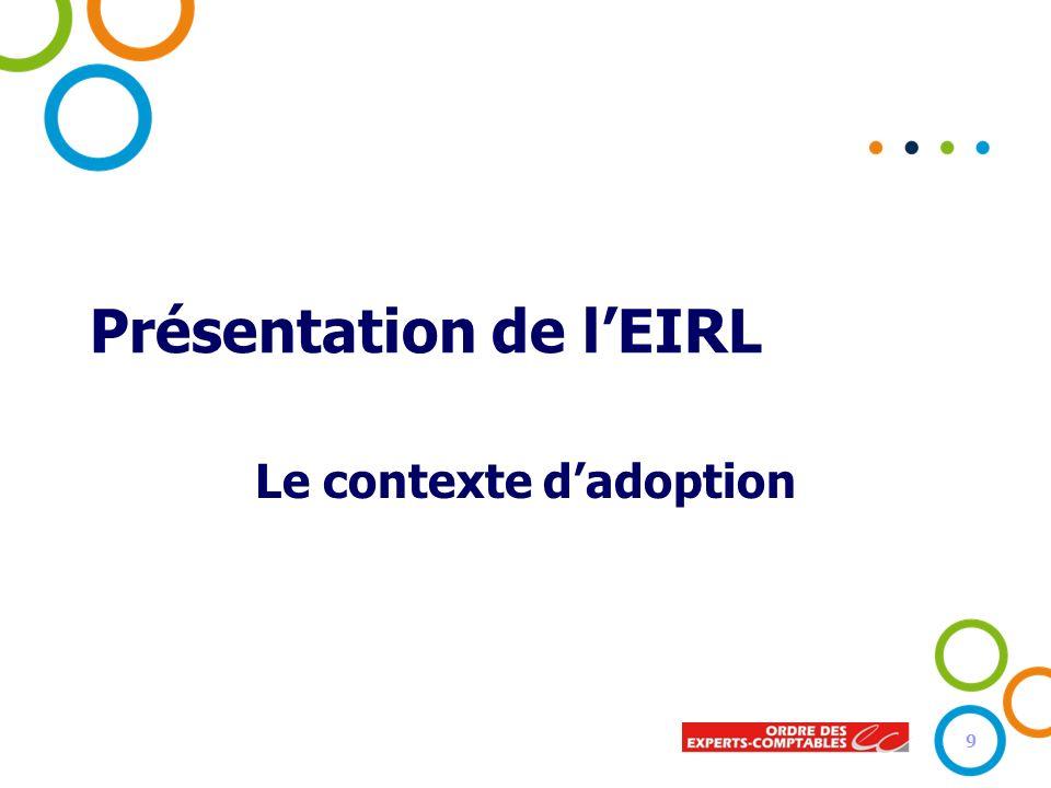 Présentation de lEIRL Le contexte dadoption 9