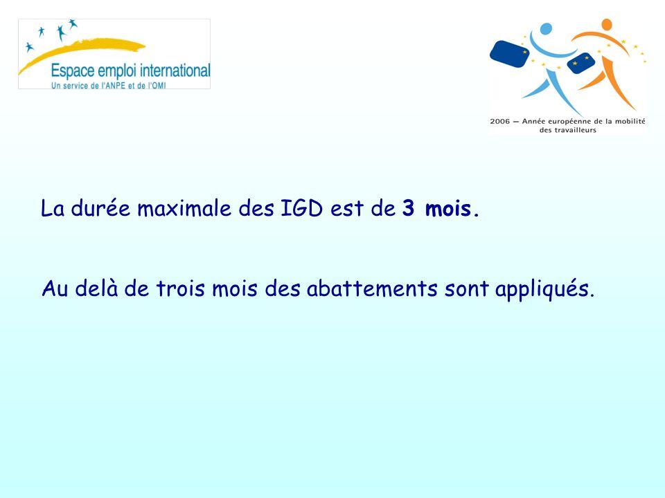 La durée maximale des IGD est de 3 mois. Au delà de trois mois des abattements sont appliqués.