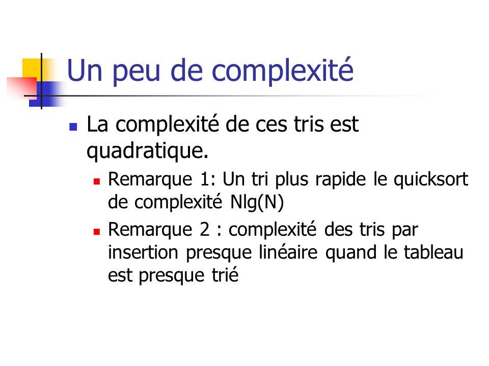 Un peu de complexité La complexité de ces tris est quadratique. Remarque 1: Un tri plus rapide le quicksort de complexité Nlg(N) Remarque 2 : complexi