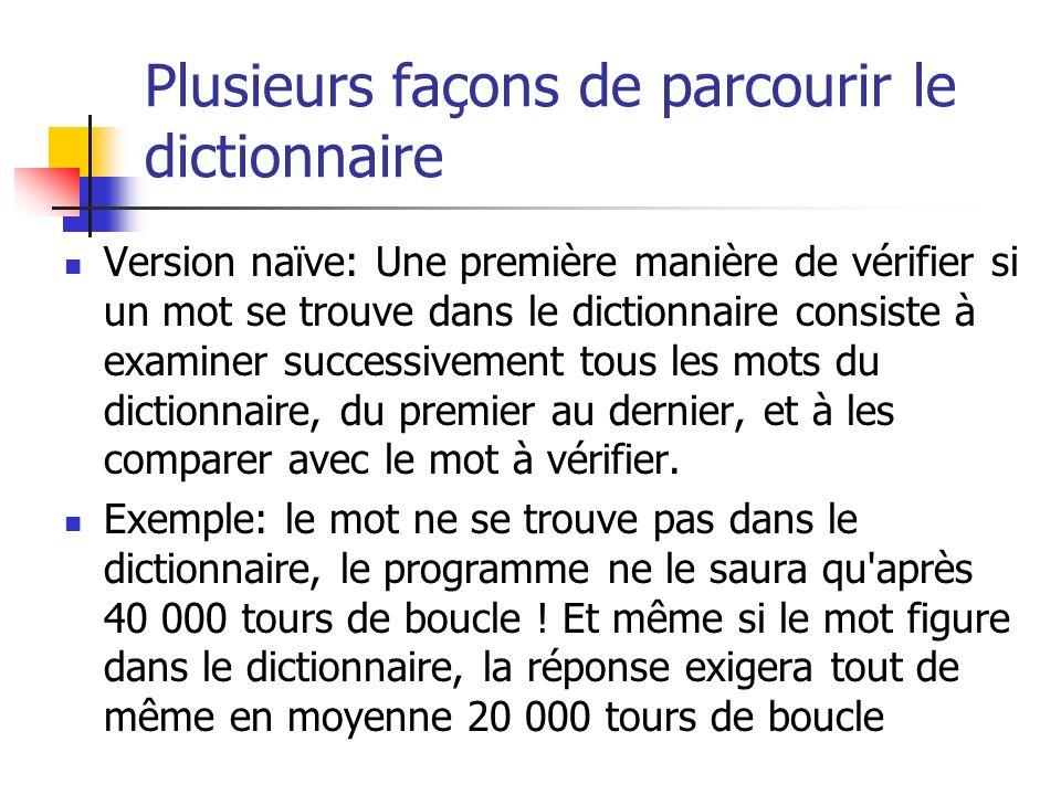 Plusieurs façons de parcourir le dictionnaire Version naïve: Une première manière de vérifier si un mot se trouve dans le dictionnaire consiste à exam