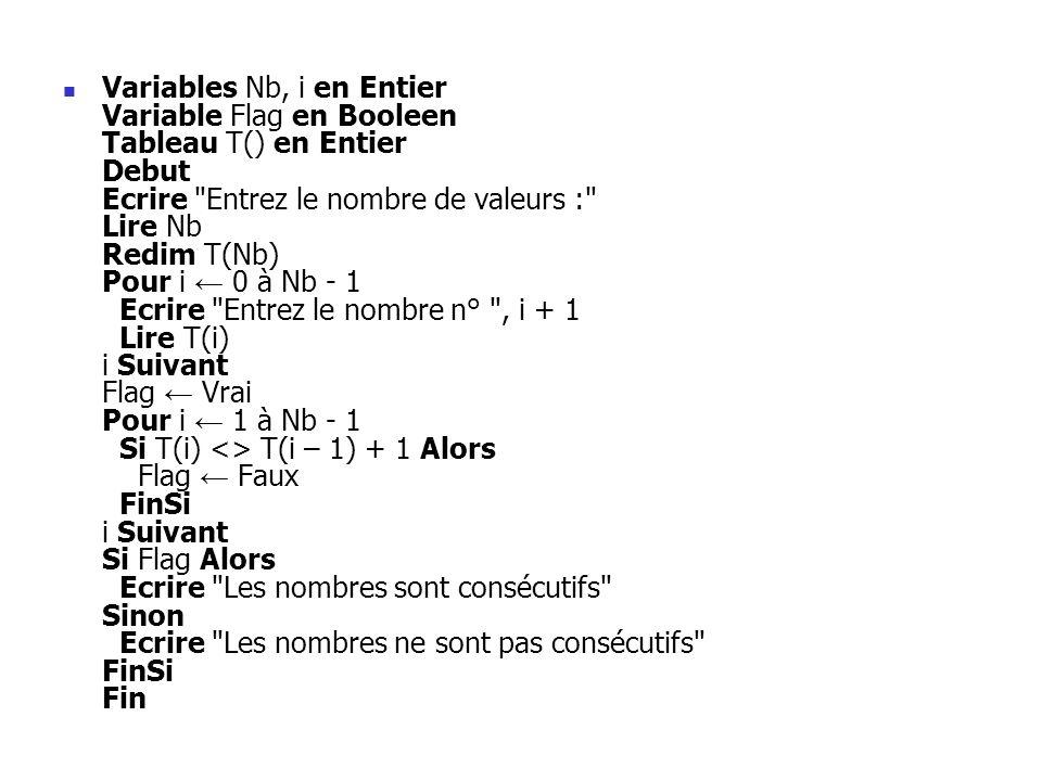 Variables Nb, i en Entier Variable Flag en Booleen Tableau T() en Entier Debut Ecrire