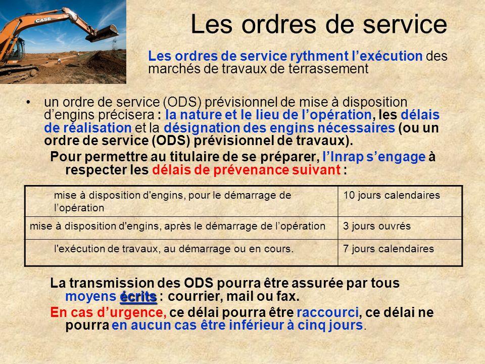 Les ordres de service un ordre de service (ODS) prévisionnel de mise à disposition dengins précisera : la nature et le lieu de lopération, les délais