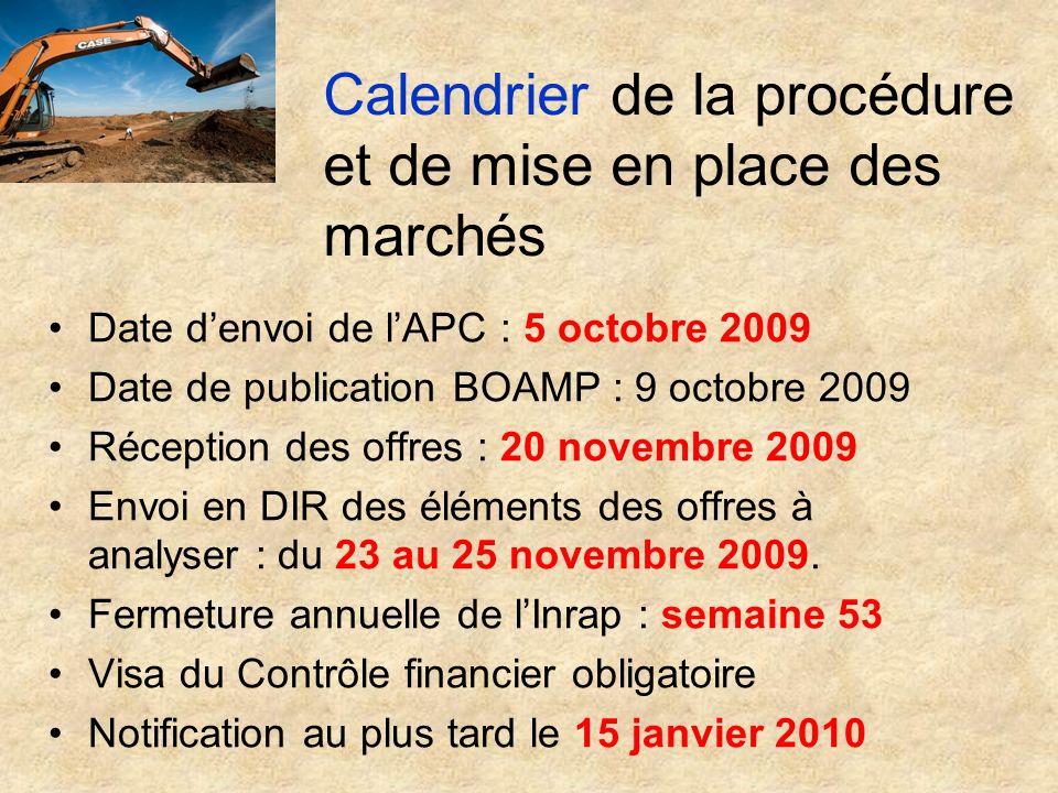 Calendrier de la procédure et de mise en place des marchés Date denvoi de lAPC : 5 octobre 2009 Date de publication BOAMP : 9 octobre 2009 Réception d