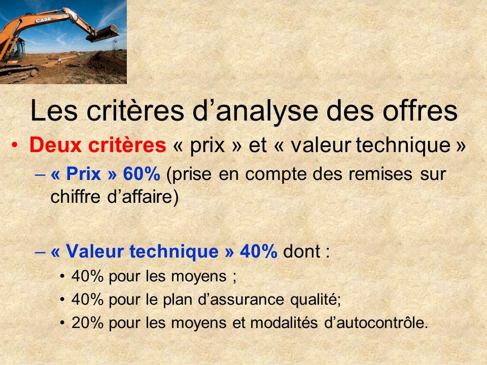 Les critères danalyse des offres Deux critères « prix » et « valeur technique » –« Prix » 60% (prise en compte des remises sur chiffre daffaire) –« Va