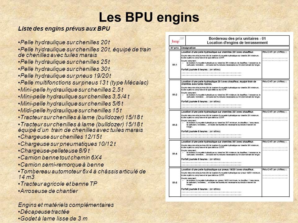 Les BPU engins Liste des engins prévus aux BPU Pelle hydraulique sur chenilles 20 t Pelle hydraulique sur chenilles 20 t, équipé de train de chenilles