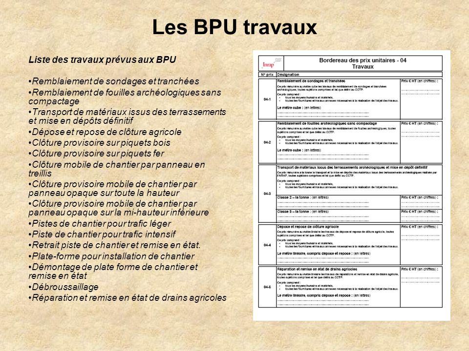 Les BPU travaux Liste des travaux prévus aux BPU Remblaiement de sondages et tranchées Remblaiement de fouilles archéologiques sans compactage Transpo
