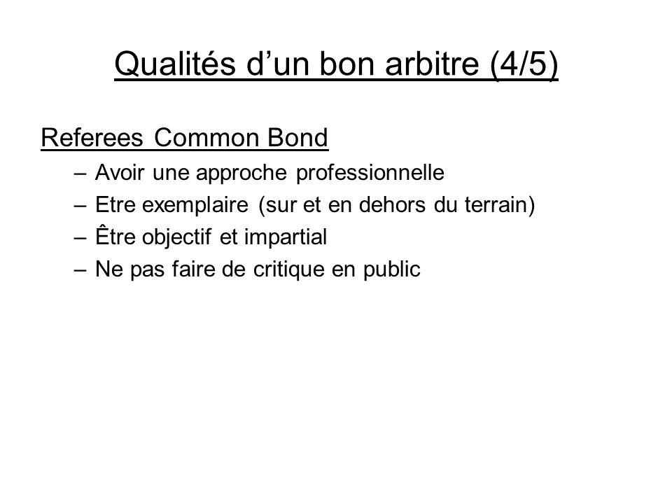 Qualités dun bon arbitre (4/5) Referees Common Bond –Avoir une approche professionnelle –Etre exemplaire (sur et en dehors du terrain) –Être objectif