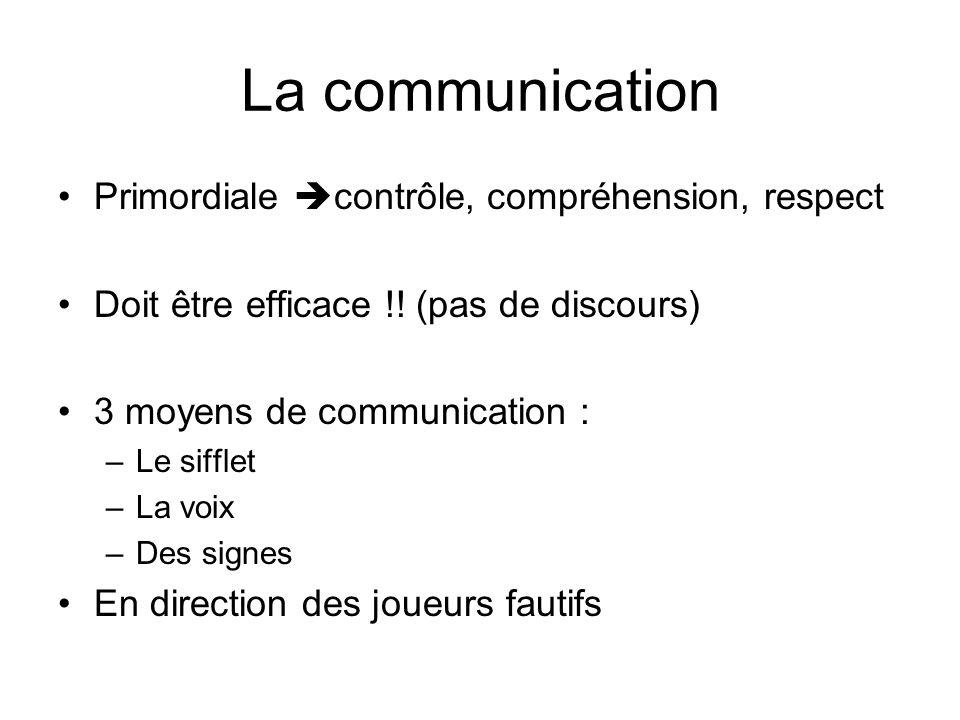La communication Primordiale contrôle, compréhension, respect Doit être efficace !! (pas de discours) 3 moyens de communication : –Le sifflet –La voix