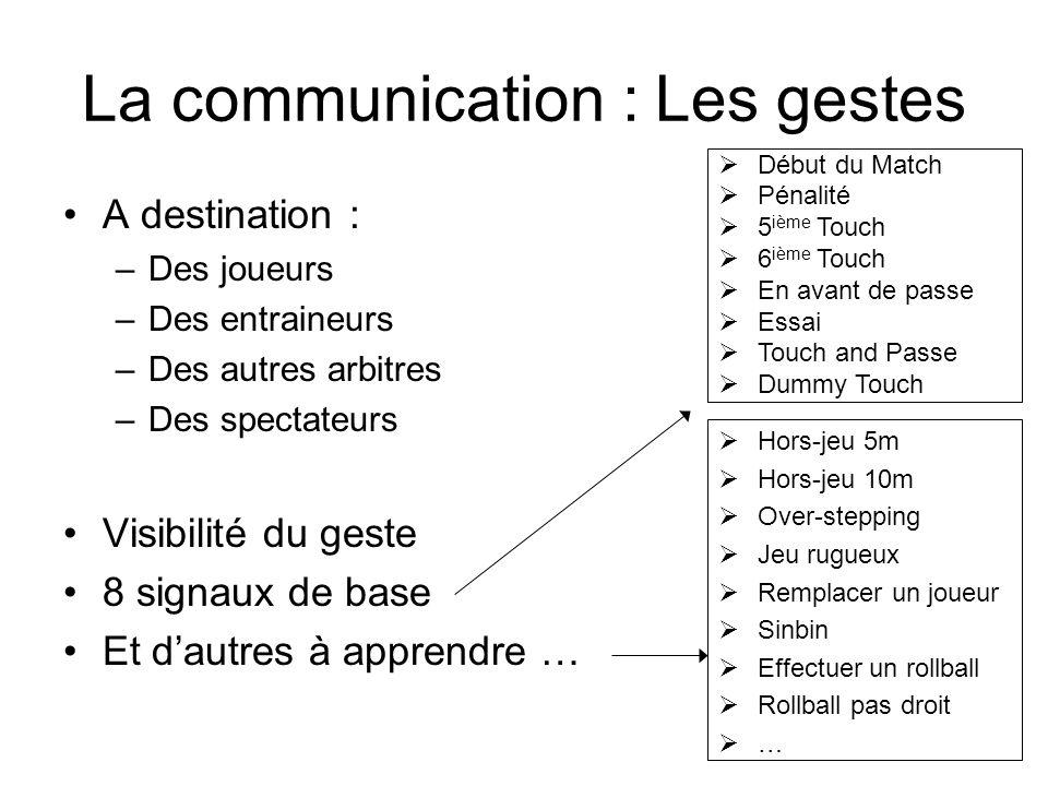 La communication : Les gestes A destination : –Des joueurs –Des entraineurs –Des autres arbitres –Des spectateurs Visibilité du geste 8 signaux de bas